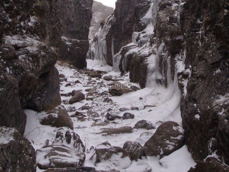 Nieve entre las rocas