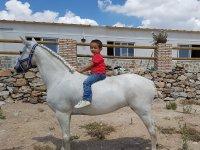 Peque sobre el caballo sin silla
