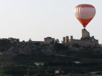 A balloon flying over the historic quarter