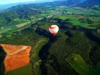 Flying over green landscapes