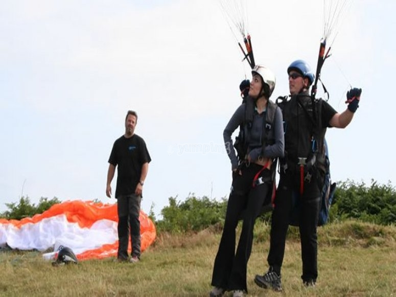 A paragliding flight with instructor