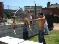 Practicing archery