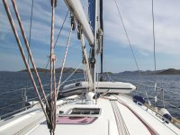 Boat deck in sunny day