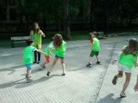 Running with green bibs