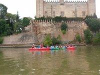Malpica Castle in canoe