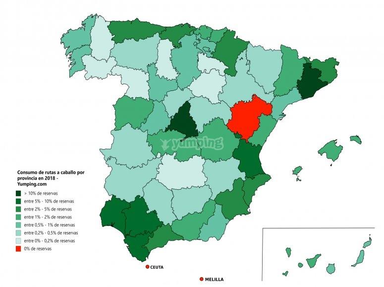 Mapa nacional consumo ruta a caballo