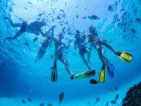 Haciendo snorkel con los mas peques