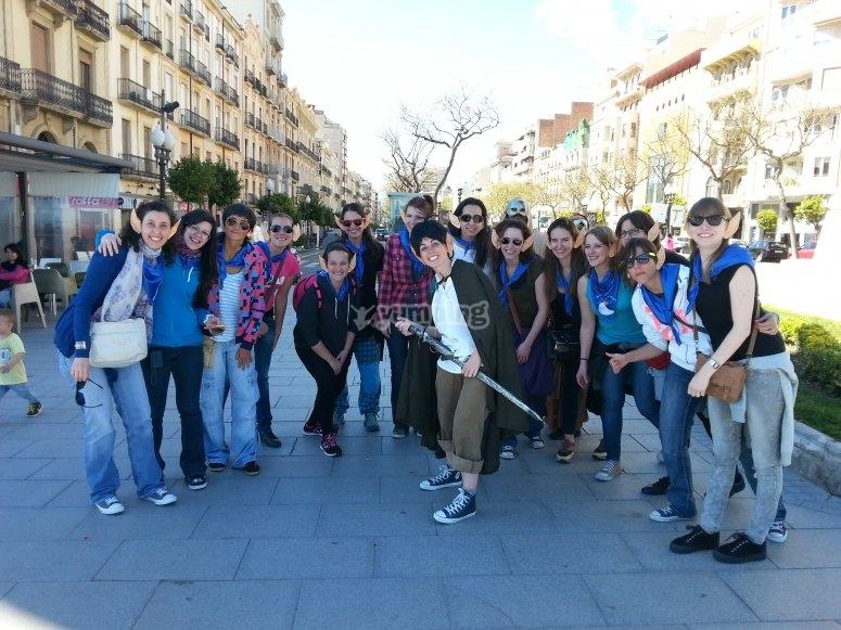 Grupo de amigos en gymkana Segovia