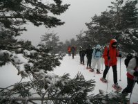 Group of people with snowshoes in Seven Peaks