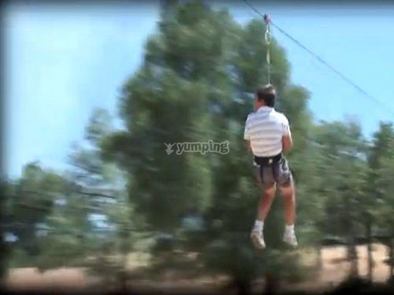 Child zip-lining
