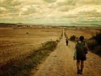 日落时分穿越桑托Domingo de la Calzada