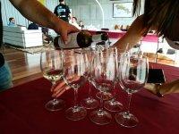 Probando vino Rioja durante la realización de una cata