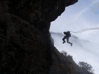 Rappel in the cave