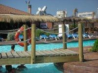 Footbridge over the pool