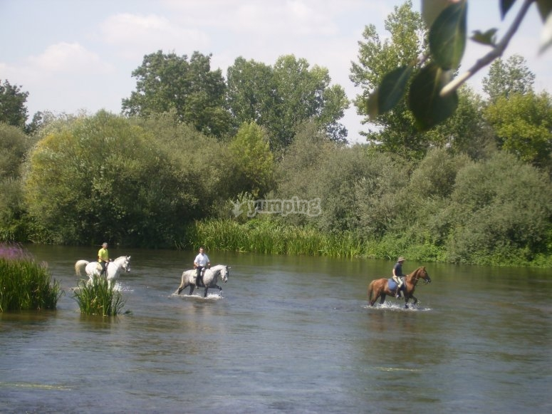 Riding a horse in the river