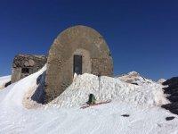 Parada en la ruta de esqui de fondo