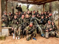 Friends in the paintball field