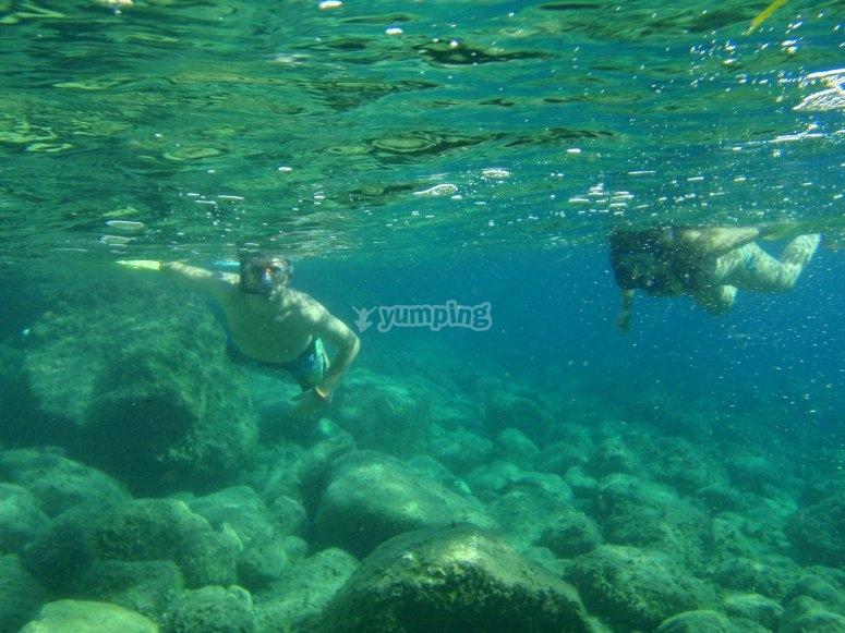 Snorkel al borde de la superficie
