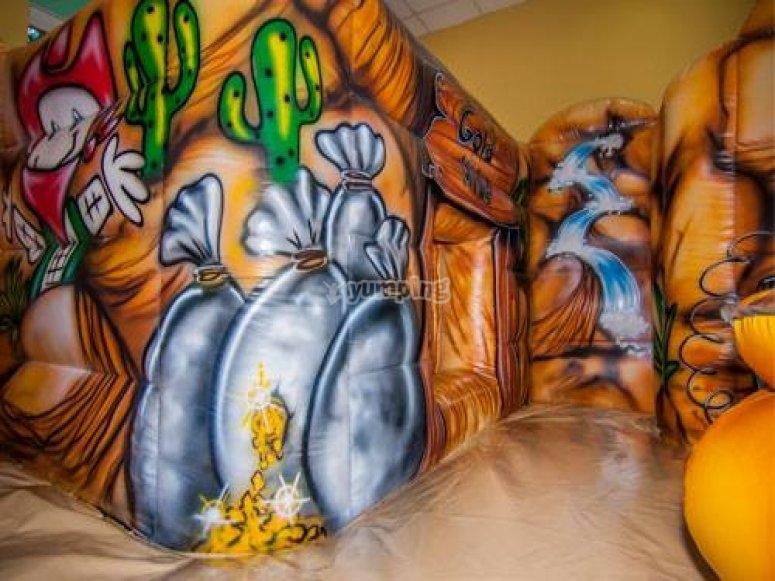 Bouncy castle with cowboy decoration
