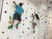 Children climbing on the rock wall
