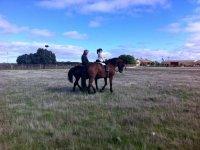 Horseback riding on the farm