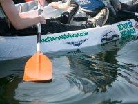 Hundiendo el remo en el agua