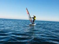 In winter enjoying Windsurfing
