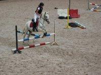Chica saltando con caballo blanco