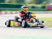 At the wheel of the kart on the circuit