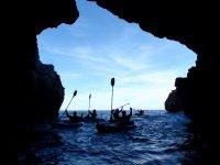 Entering a cave