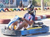 Pilotando un kart en Ibiza