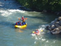 Rafting with instructors in the canoe
