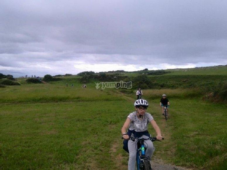 Biciclette attraverso paesaggi verdi