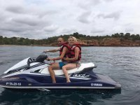 Blonde girl on a jet ski
