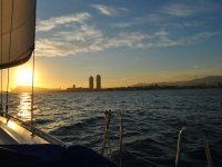 Sunset on the coast of Barcelona