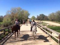 Pasando por el puente a caballo