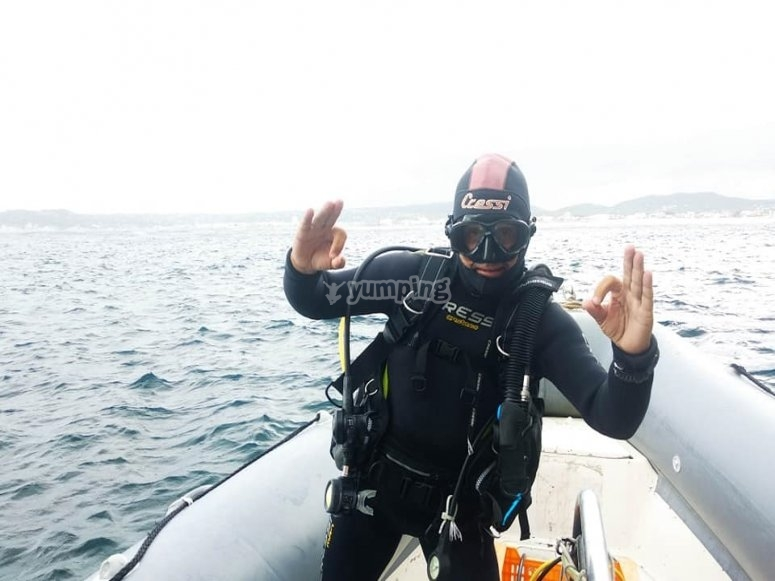En la embarcación tras la inmersión de buceo