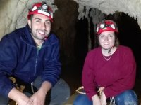Couple doing caving