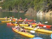 Group in canoe through Toledo