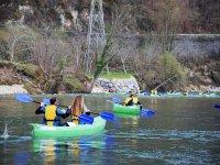 Sailing through Toledo in a canoe