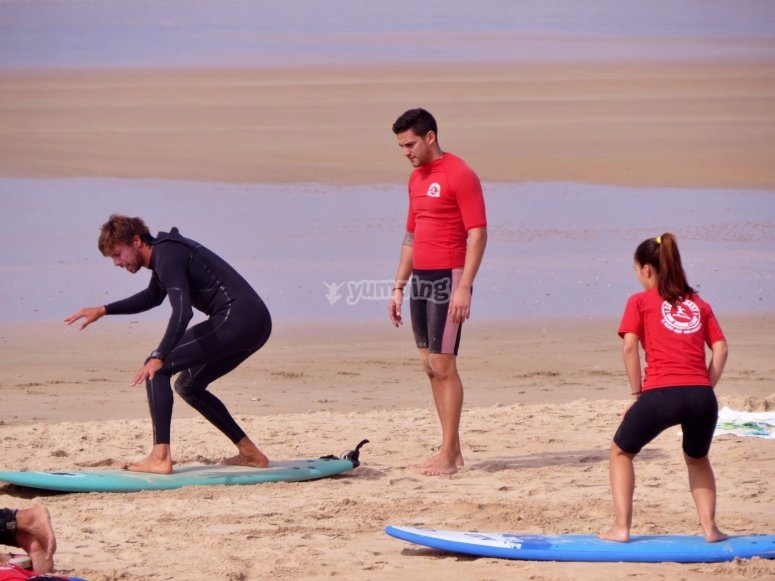 Practising on the sand