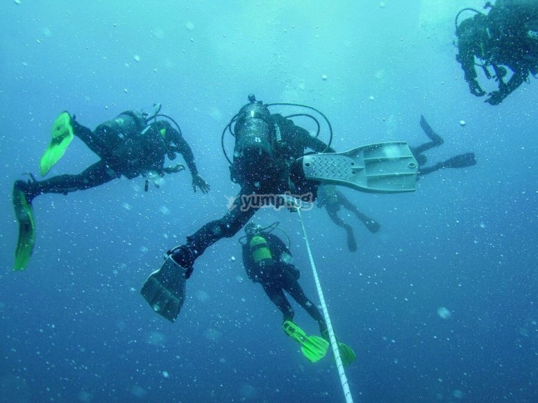 在海上潜水期间
