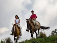 Couple horse riding excursion