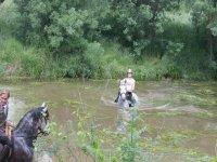 En el agua sobre el caballo