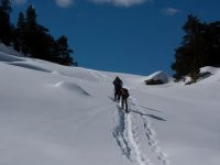 climbing with snowshoes