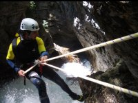 High-altitude rappelling in the ravine