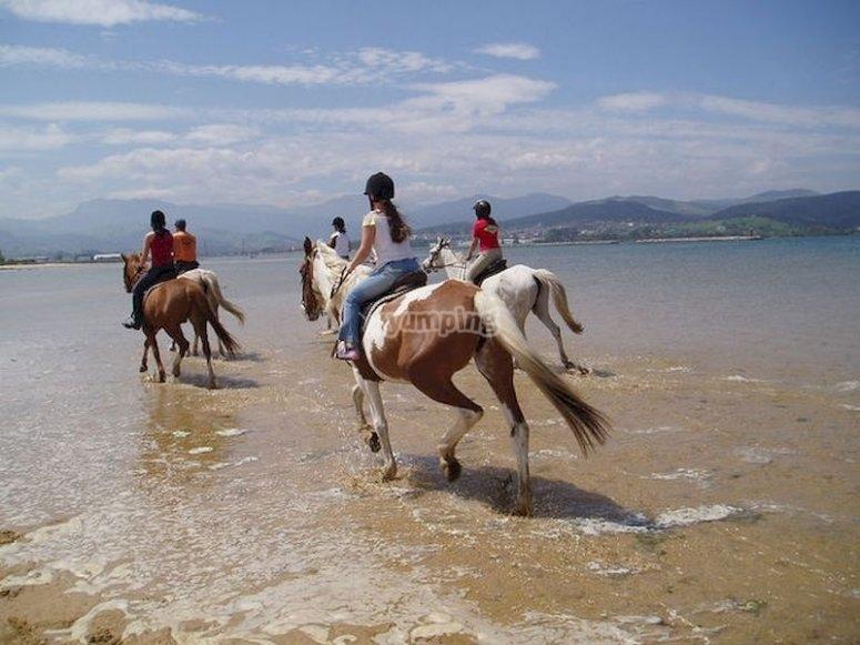 Paseo a caballo en la playa de Laredo