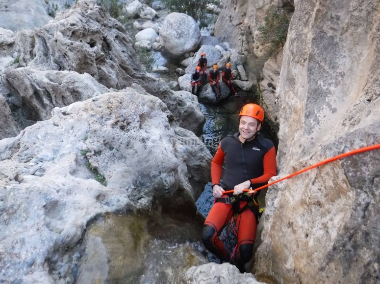 Rappelling among the rocks in Rio Verde