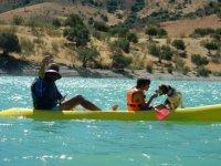 In canoa con il cane