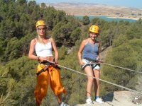 Girls learning to rappel